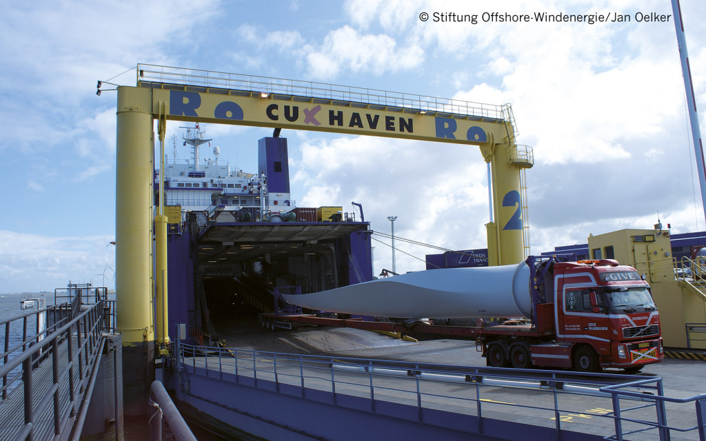 Wind energy plants are shipped from Cuxhaven to the offshore wind parks in the North Sea.