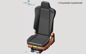 A simulation regarding the strain  on seats in commercial vehicles  was designed in  cooperation with Keiper.