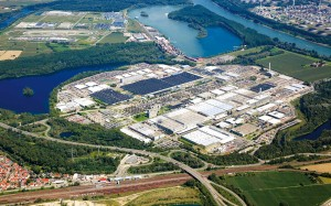 Aerial photograph of the  Mercedes Benz plant in Wörth.