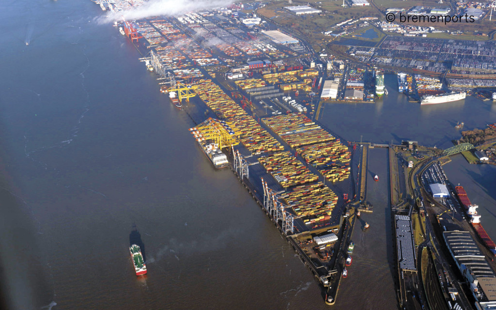 Container terminal Bremerhaven: Europe's longest continous container wharf.